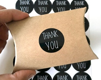 24 black thank you stickers - thank you label - wedding favor sticker - wedding favors - envelope seals - black gift wrapping stickers