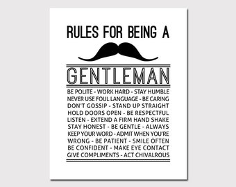 PRINTABLE ART Gentleman Rules Boys Wall Decor Boys Wall Art Rules For A Gentleman