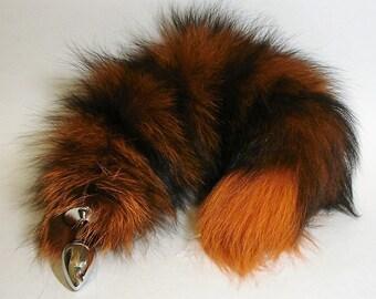 "Tail Butt Plug Sex Toy  17"" ORANGE & BLACK, Silver Fox Tail Mature Butt Plugs Pet Play BDSM Wolf Tail Kitty Tail Cat Tail Cosplay Anal Plug"