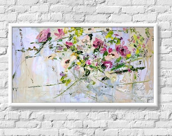 Print on Canvas Art Large Flowers Abstract Painting Print Flowers Living Room Wall Art Decor Pink Flowers on Canvas Print Giclee Large Print