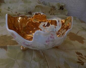 Antique Hand Painted Porcelain Fruit Bowl