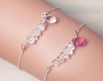 Gemstone Bar Bracelet, Crystal Bar Bracelet, Beaded Herkimer Bracelet, Bar Drop Bracelet, Layer Bracelet