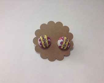 Yellow and Pink Floral Covered Button Earrings