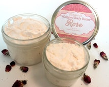 Rose Whipped Body Butter with Shea Butter, Cocoa Butter, Mango Butter, Luxurious Body Butter, Whipped Triple Butter, Gift for Her