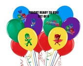 PJ Mask Balloon Stickers Set of 6 Tablecloth or balloon stickers Precut Ready to Use P J Masks