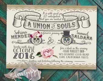 Day of the Dead themed Wedding Invitation-white