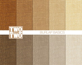 "Burlap Digital Paper: ""BURLAP BASICS"" Linen, Jute, or Burlap Texture Background in Natural Shades"