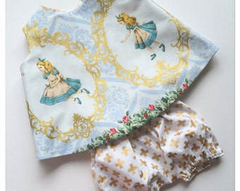 """Baby girl """"Alice in gold"""" reversible pinafore bloomers set 2 piece outfit/photo prop"""