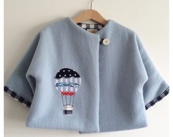 "baby boys Jacket Coat up-cycled merino wool ""up up and away"""