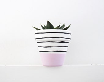 Hand Painted Plant Pot - Pink Stripe