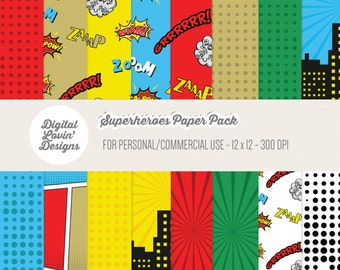 INSTANT DOWNLOAD - 16 Superheroes Digital Papers for Scrapbooking, Crafts, Invitations for Commercial and Personal Use
