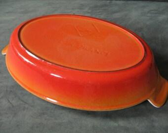Early Vintage LE CREUSET or COUSANCES Au Gratin Casserole Dish - Diamond #24 - Flame Orange Red Enameled Cast Iron