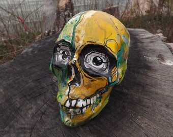 Unique Smile Colorful Handpainted Handmade Green Yellow Monster Day of the Dead Abstract Mexican Ceramic Sugar Skull