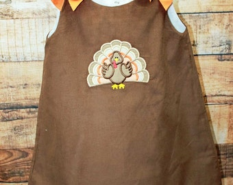 Girls Turkey Dress, Thanksgiving Dress,Brown Cord Dress,Applique Embroidered Dress