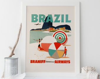 VINTAGE BEACH POSTER - Brazil Travel Poster, Vintage Travel Poster, Mid Century Wall Art, Cottage Wall Art