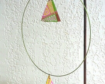 adornment triangle green white yellow pink wood