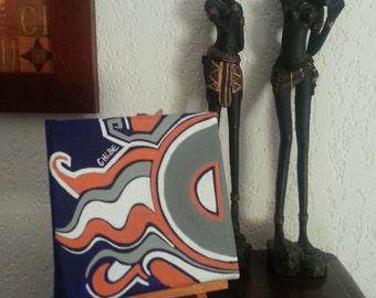 modern acrylic on canvas blue orange white grey