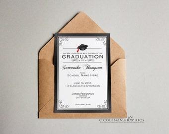 Graduation Party Invitation #15 -- Custom Invitations -- Digital File OR Free Shipping Prints