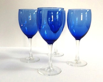 Cobalt Blue Wine Glasses, Set of 4, Clear Stems and Base, 8 Ounces