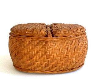 Woven Wicker & Bamboo Sewing Basket, Double Compartment, Herringbone Pattern