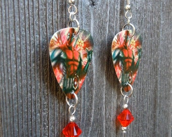 Deadpool Guitar Pick Earrings with Hyacinth Crystals