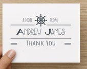 Baby thank you card: Personalized and personally designed nautical ship wheel card.