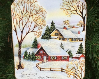 Nostalgic House in Snow Ornament Handcrafted Wood Christmas Decoration 1940s Card, Hostess Neighbor Parent Gift, Winter Snow Scene