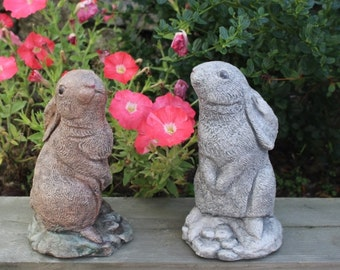 Floppy Eared Bunny, Rabbit Pair, Stone Ornaments, Garden Decoration,  Made in Cornwall, Cornwall Stoneware, Home and Garden, Gift Idea