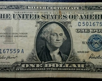 Vintage Antique circulated 1957 silver certificate One Dollar Bill blue seal note united states banknote currency 1.00 Ship