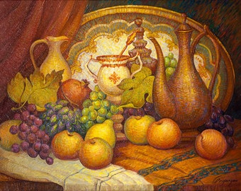 Oil on Canvas Original Signed Painting by Marina Grigoryan King's Fruits Unique Art