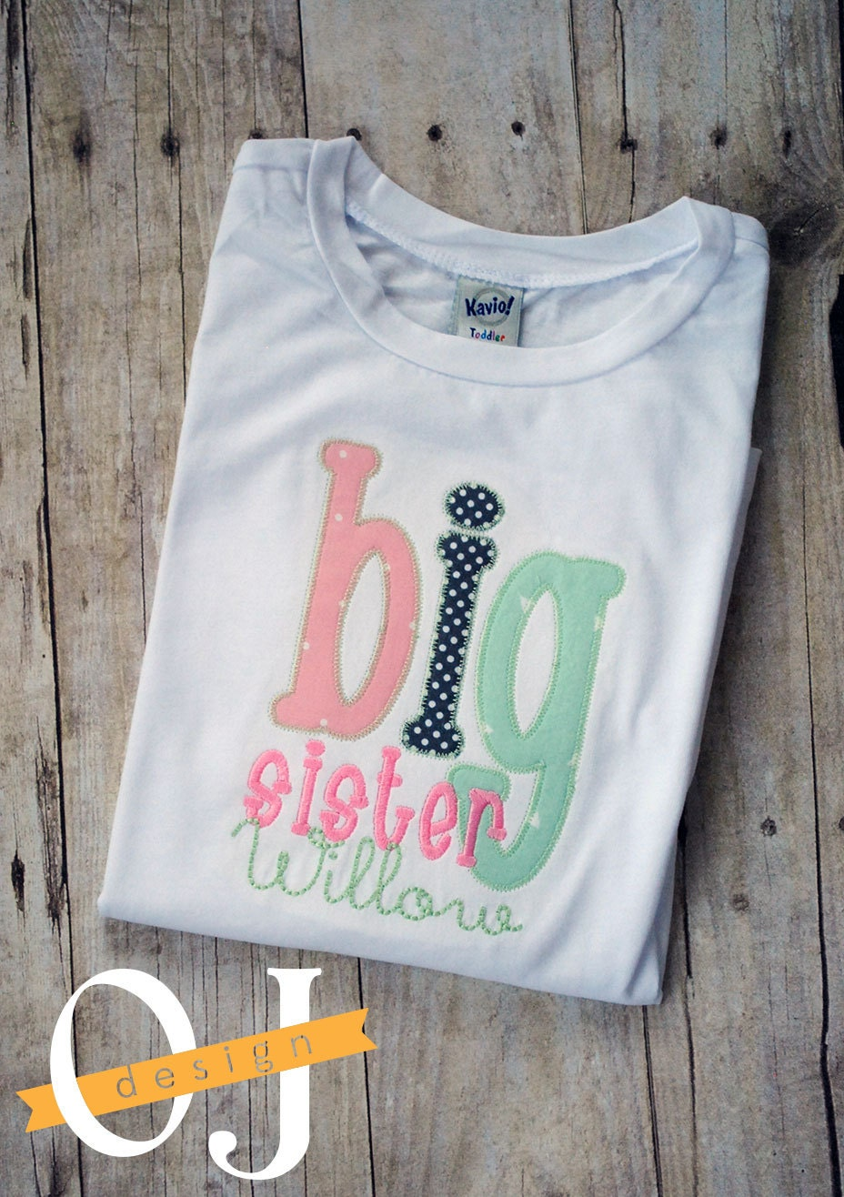 Big sister t shirt personalized name embroidered