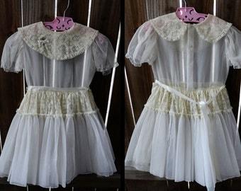 Beautiful Sheer Lace Girls Dress