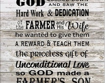Farmer Son & Daughter Wood Sign or Canvas Wall Art - Christmas, Father's Day, New Baby, Graduation, FFA, 4H