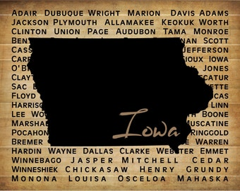 State of Iowa with Counties - Wood Sign or Canvas Wall Art - Great Christmas Gift, Mother's Day, Father's Day, Graduation, Housewwarming
