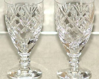 "Two vintage Webb Corbett Georgian Pattern Crystal Cut Glass 4 1/4"" Tall Sherry Glasses Signed c.1970's (ref: 4062)"