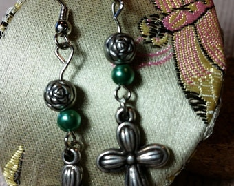 Vintage Silver Cross Green or Burgundy Accent Bead Earrings Stamp Metal Dangle Charm Pendant Fashion Accessory