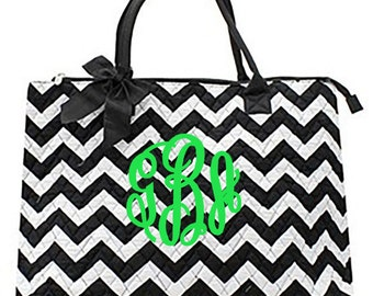 "Personalized Quilted Chevron Tote with Bow - Large 18"" Black and White - ZIB3907-BK"