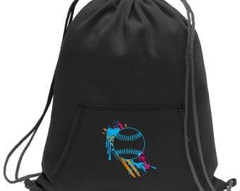 Sweatshirt material cinch bag with front pocket and splash screen print - Softball - Baseball - Black - Light Grey - Dark Grey - BG614