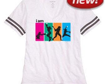 I Am Softball White Sporty Slub T-Shirt