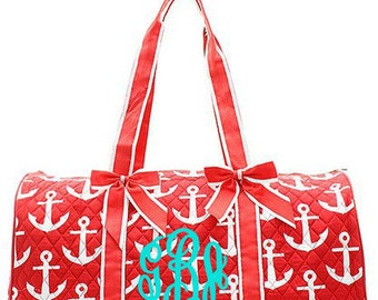 "Personalized Quilted Anchor Print Duffel with Bows - Large 20"" Red Duffle Bag with White Anchors - DDR2626-RD"
