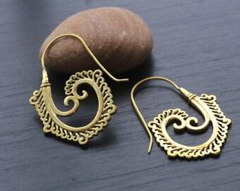 Brass Spiral Earrings, Ethnic earrings; Gypsy earrings, Tribal Silver Earrings, Tribal Hook Earrings
