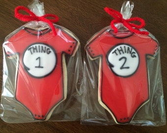 Thing 1 & Thing 2 Baby Shower Cookies - perfect party cookies!