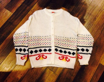 70's 80's white sweater with red, green and yellow details - comfy vintage cardigan size L XL