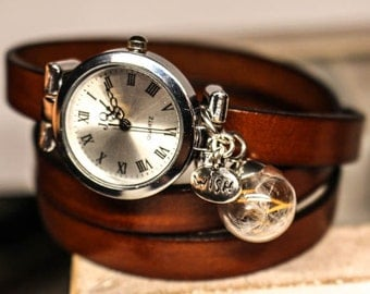 Wrap Watch, wrist watch, real dandelion, genuine leather, bead watch, bracelet watch, real leather, wish watch