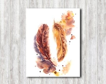 Feathers Watercolor Print, Watercolor Painting, Feathers painting, Feathers Illustraion, Modern Watercolour Wall Art
