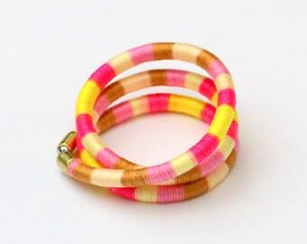 Colorful Textile Wrap Bracelet, Cotton Bracelet, Summer Bracelet, Big Statement Bracelet, Festival Bracelet, Textile Jewelry, Fabric Jewelry