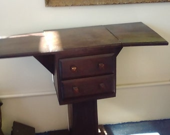 Handcrafted Custom Pedestal Drop Leaf Small Side Table/End Table