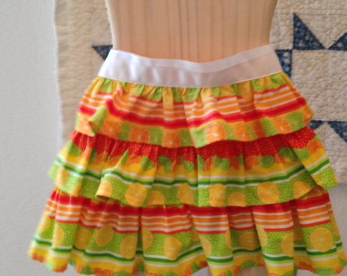 HALF PRICE ** Tween Citrus Triple Ruffled Half Apron. Lemon Tangerine Lime Seersucker Frilly Ruffled Half Apron White Ribbon ties at waist