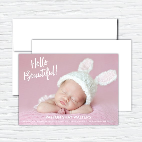 Hello Gorgeous, Baby Girl, Birth Announcement, Full Photo, Customizable, Sample