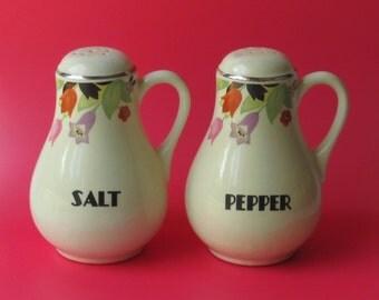 Hall China Pottery CROCUS Range Salt Pepper Shakers Halls Kitchenware Superior LARGE Cork Stoppers floral flowers shaker set True Pair NICE